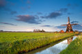 Dutch windmill at sunrise charming groningen netherlands Stock Photography