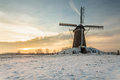 Dutch windmill in wintertime Stock Photography