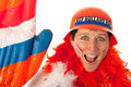 Dutch woman as soccer fan Stock Photography