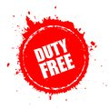 Duty free red spot vector icon