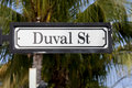 Duval street sign key west florida in with palm tree in background Stock Image