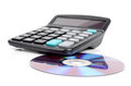 DVD and calculator Royalty Free Stock Photography