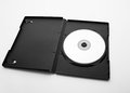 Dvd case open with dvd disk on white background Royalty Free Stock Images