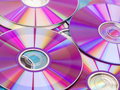 Dvd collection stack of purple rewritable Royalty Free Stock Image
