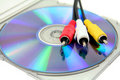 Dvd with video plugs Royalty Free Stock Photography