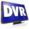 Dvr letters on widescreen tv hdtv television the or acronym for digital video recorder allowing you to record and save programs to Royalty Free Stock Photos