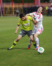 Dvsc vs gyor hungarian cup final football match budapest may adam bodi of r is tackled by mate patkai of during at Stock Image