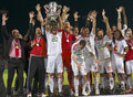 DVSC vs. Gyor Hungarian Cup Final football match Royalty Free Stock Photo