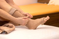 Dvt stockings female putting thrombosis on Royalty Free Stock Photos