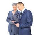 Dwa biznesmena wnioskują transakcję Fotografia Royalty Free