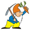 Dwarf leprechaun carries a pickaxe and carrots Royalty Free Stock Photos