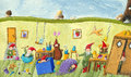 In the dwarfs childrens room acrylic illustration of Stock Image
