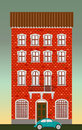 Dwelling house. Classical town architecture. Vector historical building. City infrastructure. Cityscape old red brick house. Real