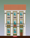 Dwelling house in Classicism style. Classical town architecture. Vector building. City infrastructure. Cityscape old beautiful bui