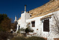 Dwellings aves built into mount chinchilla de monte aragon province of albacete spain Royalty Free Stock Images
