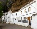 Dwellings built into rock setenil de las bodegas spain overhangs above the rio trejo Stock Images