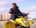 Dyakova Helen on quadrocycle. Stock Image