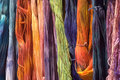 Dyed wool at a farm fair Royalty Free Stock Photo