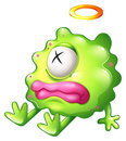 A dying green monster with pink lips illustration of on white background Royalty Free Stock Photography