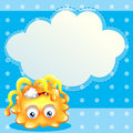 A dying lemon monster in front of an empty cloud template illustration Stock Images