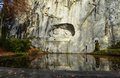 Dying lion memorial in lucerne shows a switzerland Royalty Free Stock Photography