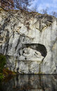 Dying lion memorial in lucerne shows a switzerland Royalty Free Stock Image