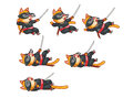 Dying ninja cat animation sprite cartoon illustration of for game Royalty Free Stock Images