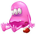 A dying pink monster illustration of on white background Royalty Free Stock Photo