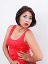 Dynamic Asian woman wearing red top Royalty Free Stock Photo