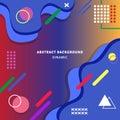 Dynamic background design memphis color