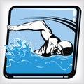 stock image of  Dynamic icon of swim freestyle