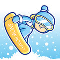 Dynamic jump snowboarding man mascot sports character design series Stock Photos