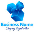 Dynamic squares logo business name concept with moving boxes Stock Images