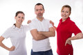 Dynamic team three young colleagues standing together Royalty Free Stock Photography