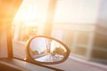 Dynamic view from car on the wing mirror during drive sun shining transportation travel speed Royalty Free Stock Image
