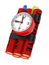 Dynamite Bomb with Clock Timer. Royalty Free Stock Photography