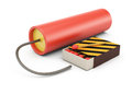 Dynamite and matches on white background d rendering illustration Royalty Free Stock Images