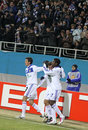 Dynamo Kiev players celebrate after scored a goal Royalty Free Stock Photo
