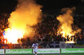 Dynamo Kyiv ultra supporters burn a flares Royalty Free Stock Photography
