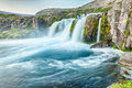 Dynjandi is the most famous waterfall of the west fjords and one of the most beautiful waterfalls in the whole iceland it is Stock Photography