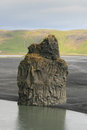 Dyrholaey rock pillar volcanic in the beach of in the southern coast of iceland Royalty Free Stock Photos