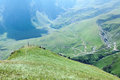 Dzhyly suu village the panorama of during climb on east elbrus Royalty Free Stock Photo