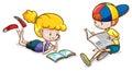 Dziewczyna i chłopiec czytanie Obraz Stock
