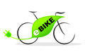 E bike simplified illustration of an with plug Royalty Free Stock Photos