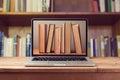 E-book Library Concept With La...