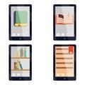 E-book reader e-reader Flat icons and symbols Set Vector Illustration