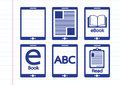 E book reader and e reader icons set an images of Stock Photography