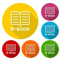 E-Book sign icons set with long shadow