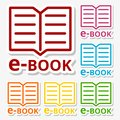 E-Book sign icons stickers set