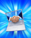 E Business Computer Marketing Handshake Royalty Free Stock Photo